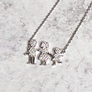 925 Silver Family dainty necklace.